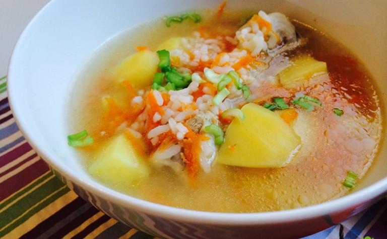 Рисовый протертый суп на мясном бульоне