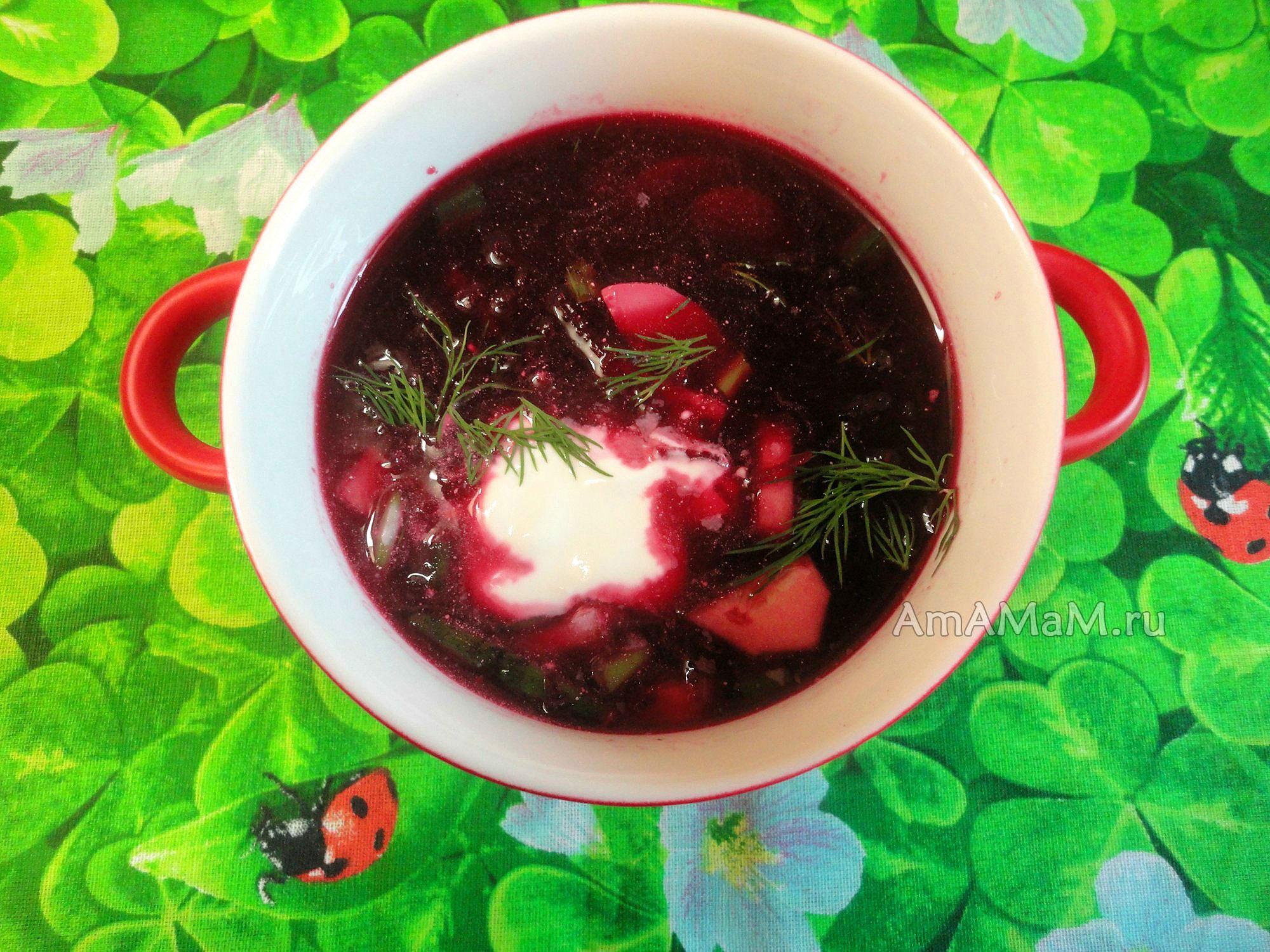 Суп свекольный холодный из сырой свеклы